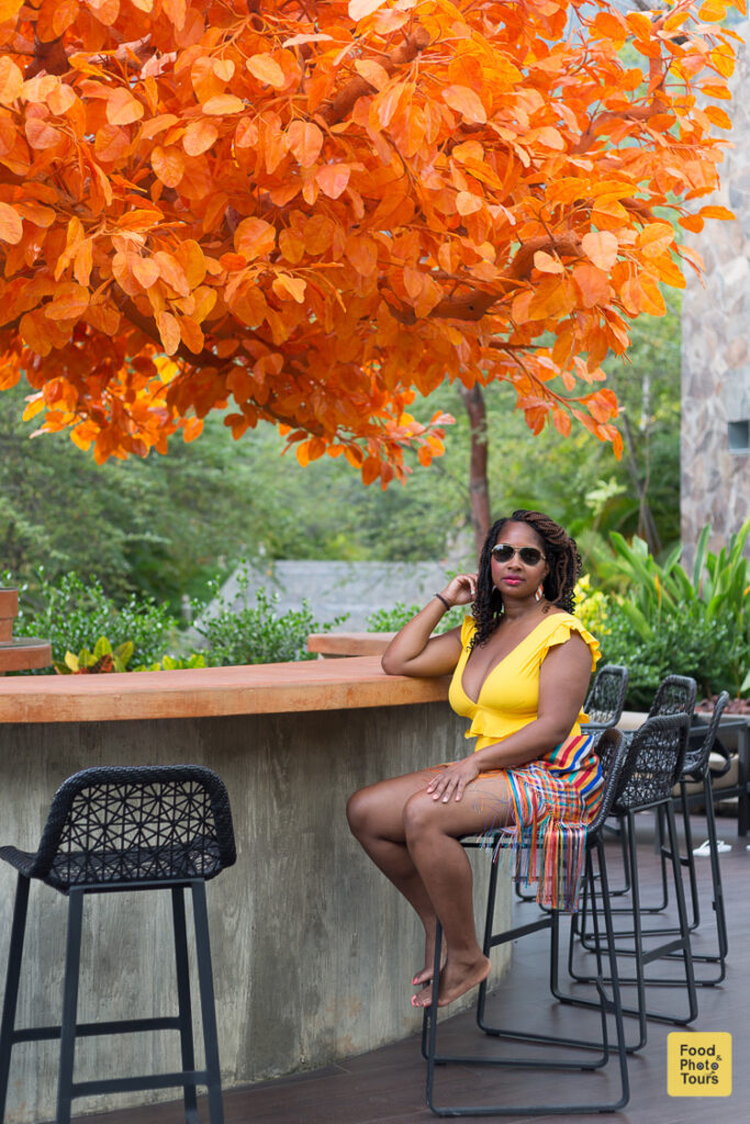 African American Female Millenial Solo Traveler in a private photo shoot at Musai Hotel in Puerto Vallarta