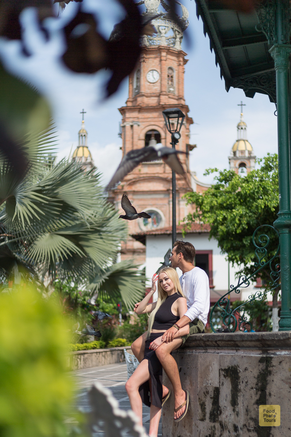 Engagement Photo Shoot in Puerto Vallarta + couple of young American millenials on a private photo shoot through streets of Puerto Vallarta Downtown